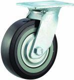 4/5/6/8 Zoll-Hochleistungsschwarzes PU-Fußrollen-Rad-industrielle Fußrolle mit doppelter Bremse