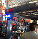 Abordagem montado na parte frontal ou traseira do ponto de vista azul luz do carro elevador