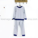 Los muchachos de manga larga de algodón orgánico traje de dormir pijama de rayas