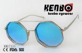 Borda dobro do metal que enche-se com os óculos de sol redondos do acessório de forma da lente Km17111