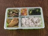 Bandeja plástica do sushi de 5 compartimentos com tampa (600ml)
