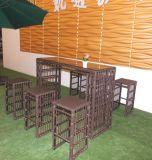 Для отдыха обставлены плетеной бар таблица садовой мебелью-137