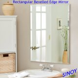 Espelho de banheiro sem molas à prova d'água, feito de vidro espelho de prata com borda polida, pode estar em formas quadradas, redondas, ovais ou irregulares