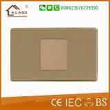 Interruptor pequeno inoxidável escovado da parede da tecla do aço 1gang