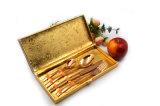 Rosen-goldenes Farbe Belüftung-Beschichtung-Tischbesteck gesetztes 4PCS