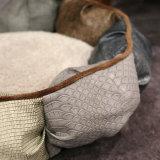 호화스러운 가죽 둥근 애완 동물 침대 호화스러운 개 소파 형식 디자인 고양이 개 침대