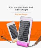 10000mAh USB 3 banco de la energía solar con el equipo de luz LED de alimentación