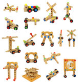 Hölzerne Schrauben-Block-Aktivitäts-Arbeitsstuhl-Aufbau-Kind-hölzerne Spielwaren