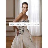 Vestido Mano-Moldeado y bordado de la envoltura del tafetán del amor de las rosas