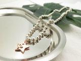 Ожерелье шарика белого золота Rodium покрынное полое металлическое с шармами звезды