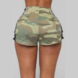 Sides Camo Print Cotton Shorts를 위로 끈으로 묶으십시오