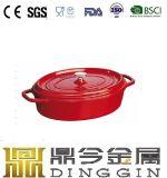 楕円形のエナメルの鋳鉄の鍋