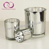 De eenvoudige Moderne Gegalvaniseerde Zilveren Kop van de Kaars van de Houder van de Kaars van het Glas