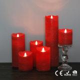 Vela Flameless vermelha elegante do diodo emissor de luz da coluna da cera da venda da fábrica