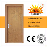 Двери ванной комнаты фабрики, цена дверей PVC HDF (SC-P004)