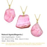 최신 판매 분홍색 불규칙한 자연적인 마노 돌 여자를 위한 펀던트 목걸이 금 보석