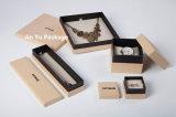 Diseño creativo de joyas de papel Embalaje de regalo Caja con cinta de seda negra