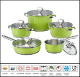 10PCS roestvrij staal Color Cookware Set