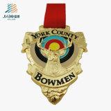 Personalizzato la medaglia dell'arciere di sport dell'oro della lega della pressofusione per il ricordo