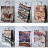 Il natale all'ingrosso ha stampato i sacchetti riciclati del regalo della carta kraft