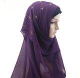 Foulard en écharpe en mousseline de mésange en mousseline de soie Echarpe en coiffe musulman Hijab