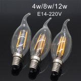 Luzes do candelabro do bulbo de vidro de lâmpada de filamento do diodo emissor de luz de Edison Dimmable E14