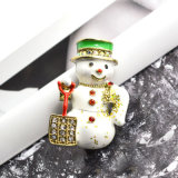 Grandes Brooches do boneco de neve de cristal branco do Natal do Brooch do Rhinestone do esmalte