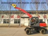 China Excavadora de roda pequena rotação de 360 graus com broca rotativa
