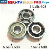 Cuscinetti a sfera profondi 608zz, cuscinetto a sfere di ceramica di SKF 608-2RS della scanalatura del pattino di NSK per i pattini