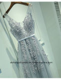 Frauen V-Stutzen Tulle-Sleeveless Abend-Partei-Abschlussball-Kleid