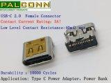 Connecteur femelle de type C USB, USB-IF NO 200000253 TID, de la durabilité : 10000 cycles, , la transmission de données : 480m/S. Courant nominal : 5A MAX. Matériau du boîtier : SUS304