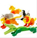 Hölzernes intellektuelles Tierpuzzlespiel spielt 3D