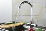 Mezclador de tres vías del agua de la cocina de las mercancías sanitarias de lujo con dos canalones