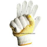 Желтый ПВХ пунктирной желтый хлопок трикотажные рабочие перчатки ручного задания перчатки