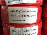Fio vermelho contínuo do cabo elétrico do edifício do calibre de Thw #12 12AWG 12