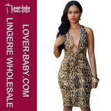 Женщина Bodycon Leopard Mini Sexy платье (L36096)
