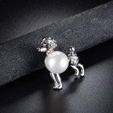 Broche cúbica de la aleación de las mujeres del Zircon del perro del grano animal lindo de la perla