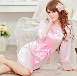 Sexy Women Satin Lace Robe Sleepwear Lingerie Nightdress G-String Pijamas