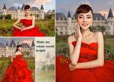 Rote bördelnde Ballgown Brautabend-Kleid-Abend-Kleider (TJBLCT019)