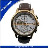 Le quartz fait sur commande observe la montre d'acier inoxydable