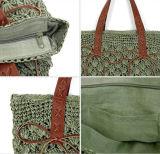 Il sacchetto della spiaggia della paglia della spalla di estate con cuoio tratta la signora Fashion Handbag