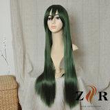 자주색 녹색 파란 긴 합성 머리 가발
