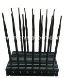 14 Bandas Jammer GSM / 3G / 4G Celular, GPS, Wi-Fi, LoJack, 433MHz, 315MHz 868MHz emisión de la señal; Built-in 5 ventilador de refrigeración 14 de la antena bloqueador de señal