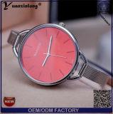Relógio de vidro da safira do movimento de quartzo de Japão do relógio da parte traseira do aço da caixa de aço inoxidável das senhoras do ouro Yxl-798