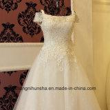 Vestido luxuoso da princesa casamento da flor do laço com perolização da garganta do barco
