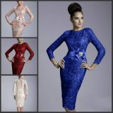 Blue Red Pink Cocktail Dress Mãe do vestido da noiva Crew 3/4 Long Sleeves Short Evening Dress Y1782