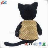 옷을 입은 박제 동물 고양이 견면 벨벳은 13 인치 검정을