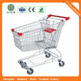 Js-Tas07 Best Cheap Asian 4 Wheel Metal Supermarket Retail Hand Shopping Trolley Cart