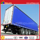 3 Caixa de transporte de carga do eixo jogo lateral cortina semi reboque