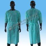 Vestido não tecido descartável do hospital do verde do vestido da isolação para trabalhadores